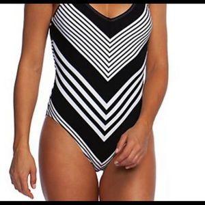 LA Blanca Mittered Stripe Halter Bathing Suit